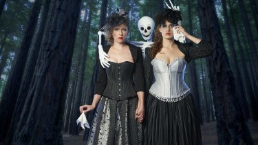 Melissa Main and Nicola Bell perform in <i>Kick the Bucket: A down-to-earth death folk cabaret</i>.
