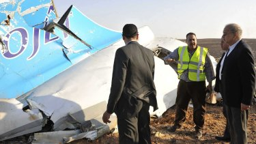 Egypt Prime Minister Sherif Ismail at the the crash site. 224 people died when the Russian charter flight crashed 25 minutes after taking off from resort town Sharm el Sheikh.