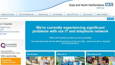 The East and North Hertfordshire NHS Trust was among the services targeted.