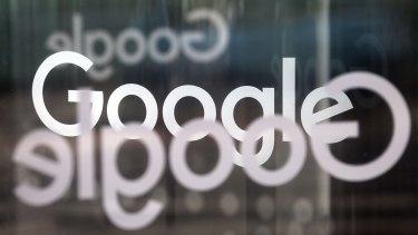 The comany logo on the doors of Google's UK headquarters.