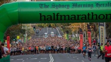 The Sydney Morning Hearld Half Marathon starters near St Mary's Cathedral on Sunday morning.