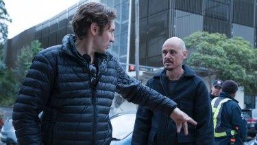 Nash Edgerton (left) directs Scott Ryan in Mr Inbetween.