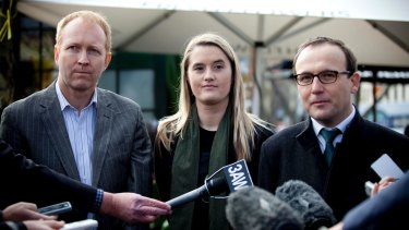Melbourne City councillor Cathy Oke with Greens MP Adam Bandt (right) and former Victorian Greens leader Greg Barber.