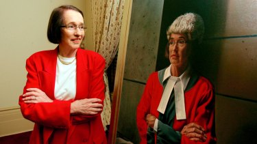 Justice Rosemary Balmford at the 2008 unveiling of her court portrait by Yvette Coppersmith.