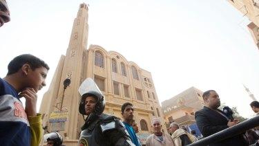 Police surround Mar Mina church, in Helwan, Cairo, Egypt, on December 29.