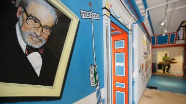 A mural featuring Theodor Seuss Geisel at The Amazing World of Dr. Seuss Museum, in Massachusetts.