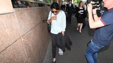 Kumuthini Kannan leaves court on Monday.