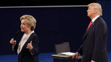 Donald Trump often stood and paced when Hillary Clinton was speaking.