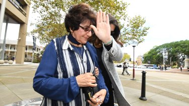 Judith Obeid leaves the Supreme Court after a liquidator's examination in April.