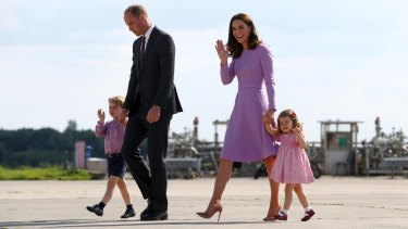 Britain's Prince William, his wife Kate, and their children, Prince George and Princess Charlotte in Germany in July.