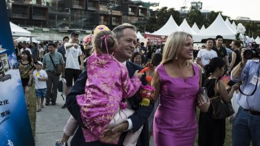 Opposition Leader Bill Shorten with wife Chloe and daughter Clementine.