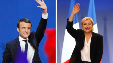 First-round victors Emmanuel Macron (24 per cent) and Marine Le Pen (21.3 per cent).