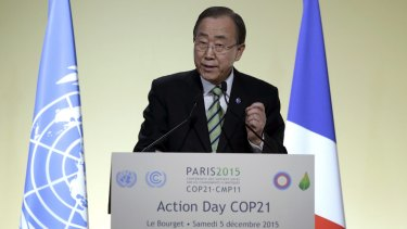 United Nations Secretary-General Ban Ki-moon addressing the climate conference.