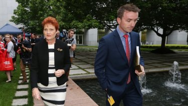 Senator Pauline Hanson and her increasingly powerful chief of staff James Ashby.