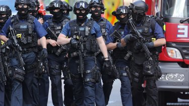 Counter terrorism officers near the scene of the London Bridge terrorist attack.