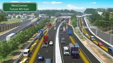 An artist's impression of planned upgrades to the WestConnex motorway: M5 East and King Georges Road interchange in Beverly Hills.