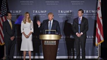 Donald Trump speaks at  the grand opening ceremony of the Trump International Hotel in Washington in October.