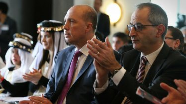 Immigration Minister Peter Dutton with his department secretary Michael Pezzullo in Parliament House.
