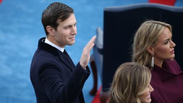Jared Kushner arrives at the presidential inauguration on Friday US time.