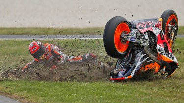 Spaniard Marc Marquez crashes on the 10th lap