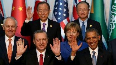 Malcolm Turnbull with leaders from the G20, including Turkish President Recep Tayyip Erdogan (front left), German Chancellor Angela Merkel, US President Barack Obama, UN Secretary-General Ban Ki-moon (top left) and World Bank President Jim Yong Kim.