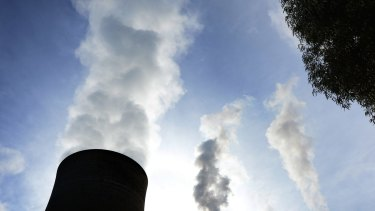 Cooling towers and smokestacks at a LaTrobe Valley power plant in Victoria.