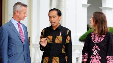 Indonesian President Joko Widodo being interviewed by Indonesia correspondent Jewel Topsfield and international editor Peter Hartcher.