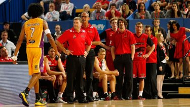 Perth Wildcats show Sydney Kings forward Josh Childress the door after the star forward was sent from the court.