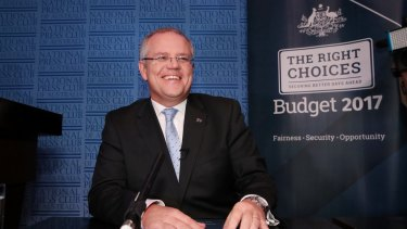 Treasurer Scott Morrison addressed the National Press Club in the Great Hall at Parliament House in Canberra.