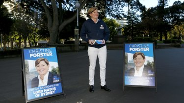 Christine Forster, a Liberal councillor in the City of Sydney and sister of former prime minister Tony Abbott, campaigns to become Sydney's lord mayor in Hyde Park.