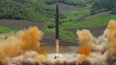 This photo distributed by the North Korean government shows what was said to be the launch of a Hwasong-14 intercontinental ballistic missile during North Korea's last missile tests.