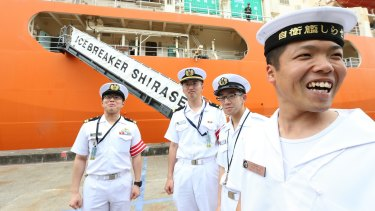 Crew members from the Japanese icebreaker Shirase at Garden Island on Good Friday.