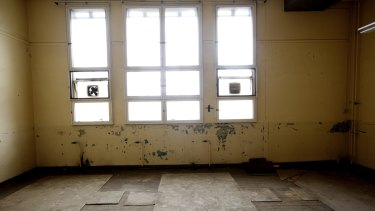 Inside one of the rooms of the derelict Collingwood Technical College site, soon-to-be the Collingwood Arts Precinct.