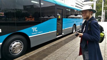 Canberra bus spotter Brock Ginman, 18, turned out to see the first of the new fleet on Thursday.