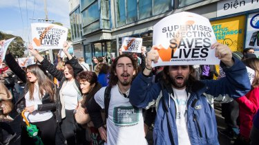Protesters rally in Victoria Street, Richmond, in August to push for a safe injecting room.