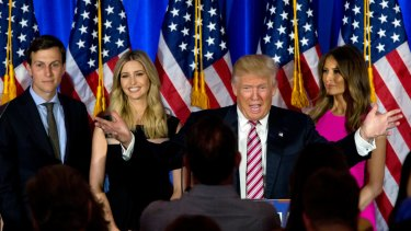 Donald Trump is accompanied by his wife and/or daughter because their presence add to his image as an alpha-male patriarch.