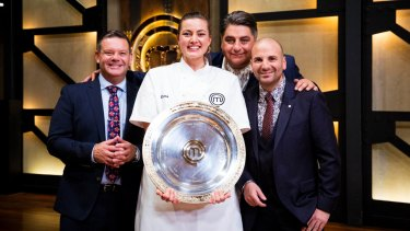 This year's <i>MasterChef</i>, Elena Duggan, with judges (from left) Gary Mehigan, Matt Preston and George Calombaris.