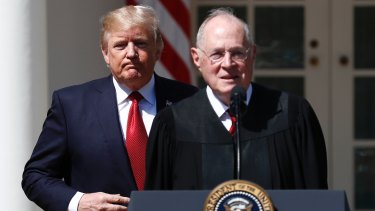 President Donald Trump, left, and retiring Supreme Court Justice Anthony Kennedy.