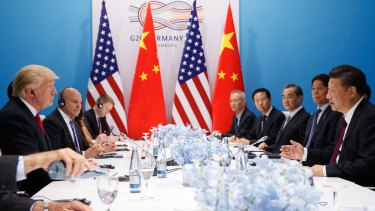 US President Donald Trump meets with Chinese President Xi Jinping at the G20 Summit.
