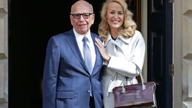 Rupert Murdoch and Jerry Hall leave Spencer House, London, after getting married.