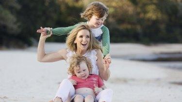 Australian news presenter Jacinta Tynan with her two boys Jasper and Otis.