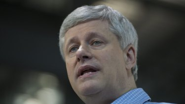 Conservative leader Stephen Harper attends a campaign event in Quebec City on Friday.