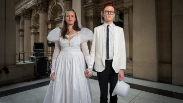 Comedians Zoe Coombs Marr and Rhys Nicholson are getting married in an act of protest.