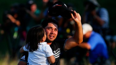 Tears of joy: Jason Day cries as he acknowledges the crowd after winning the US PGA Championship.