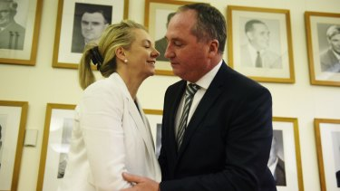 Deputy Prime Minister Barnaby Joyce congratulates the Nationals deputy leader Bridget McKenzie last week.