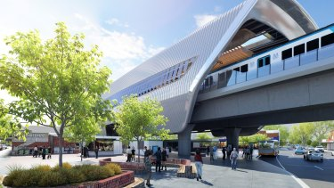 An artist's impression of the sky rail at Murrumbeena station.
