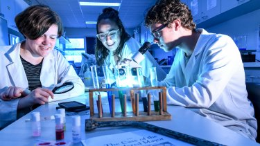 Fitzroy High School students Arabella Hope, Alice Huxtable and Roy Meuleman overhauled their elective program and introduced a forensics subject where students solve crimes.