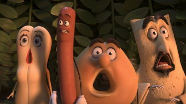 Frank the sausage, voiced by Seth Rogen, leads his edible friends on a mission to escape the supermarket in a bid to avoid becoming dinner in <i>Sausage Party</i>.