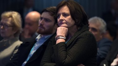 Cherie Blair looks on as her husband, former British PM Tony Blair, delivers a keynote speech at a pro-European Union event in February.