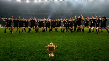One last dance: Victorious New Zealand players perform the Haka to celebrate winning the Webb Ellis Cup.